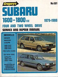 SUBARU-1600-1800-1979-1988-Gregorys-Service-Manual-No-501