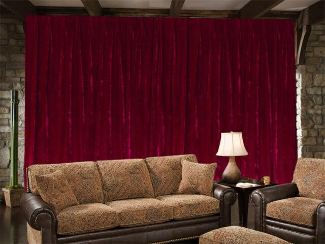 Long Large Velvet Curtains 600 x 270cm with 4m blockout + 30 Hooks New Burgundy