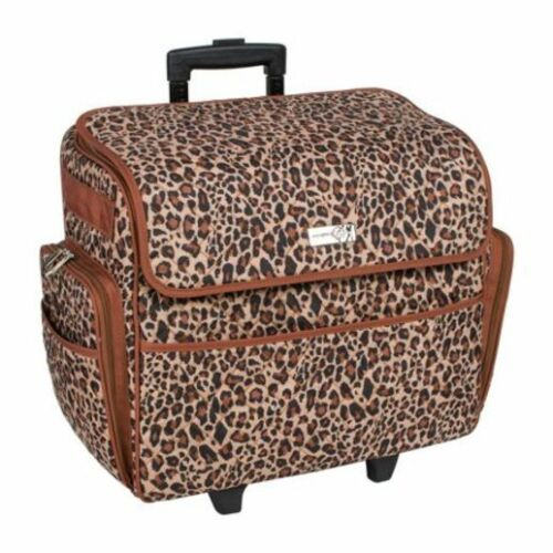 Deluxe Quilted Cheetah Print Rolling Sewing Machine /& Supplies Storage Tote Bag