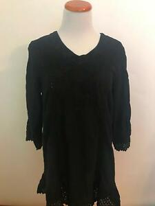 GRETTY-ZUEGER-Boutique-black-cotton-embroidered-BoHo-Tunic-blouse-S