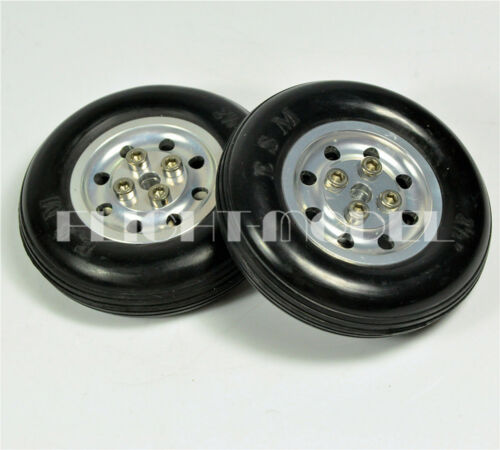 1 Pair 100/% Solid Rubber Wheels Aluminum Hub 4 inch 101.6mm For RC plane//Model