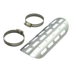 """Biker/'s Choice 6/"""" Chrome Perforated Motorcycle Exhaust Heat Shield"""