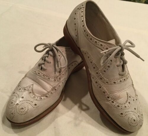 Mens Vintage Beautiful White Bucks ~ Wing Tips Red
