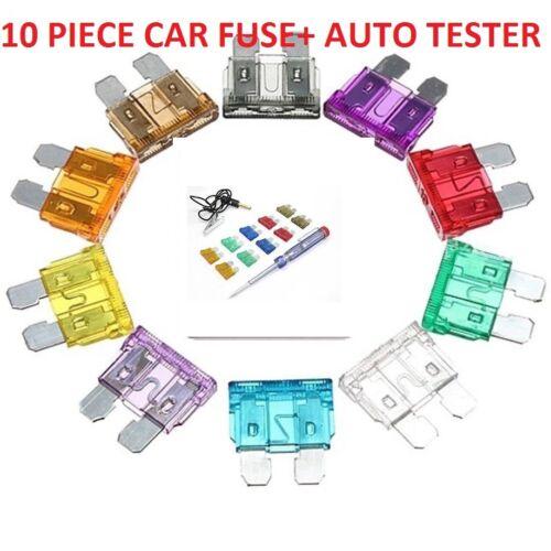 10 Piece Blade Fuse Kit Tester Pen 6-24V 3-40A Car Circuit Voltage Tester