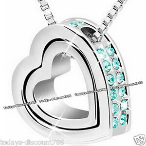 Image Is Loading Unusual Turquoise Crystal Heart Necklace Xmas Gifts For