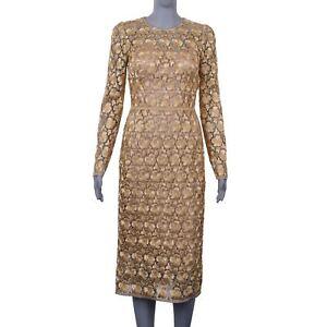 DOLCE-amp-GABBANA-RUNWAY-Greek-Lace-Dress-Floral-Flower-Metallic-Gold-06166