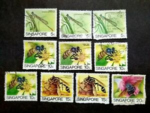 Singapore-1985-Insects-Loose-Set-Up-To-20c-Extra-10v-Used-7