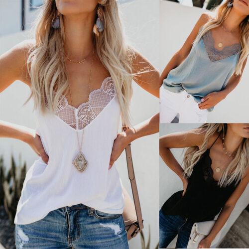 Sling Vest Women/'s Tops Lace Sleeveless Open Back S~XL Cotton Blends Brand New