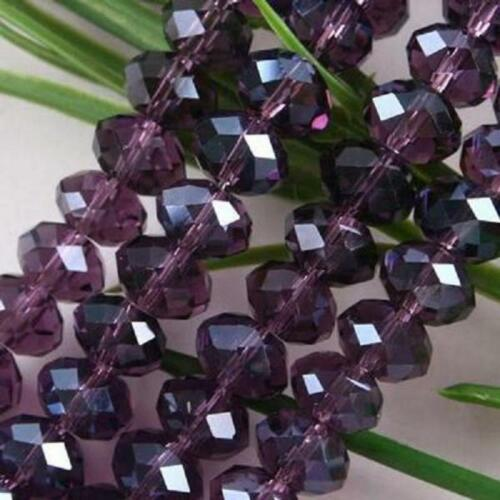 violet Transparent perles lâches 3x4mm naturel facetté cristal 148pcs