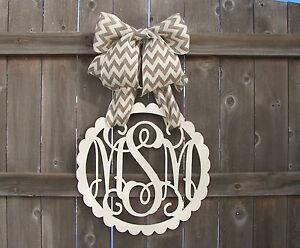 Wooden Monogram Door Hanger Wreath Initial Burlap Bow