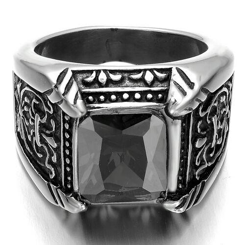 Stainless Steel Men's Ring , Color Silver Black, Crystal, Vintage, Biker