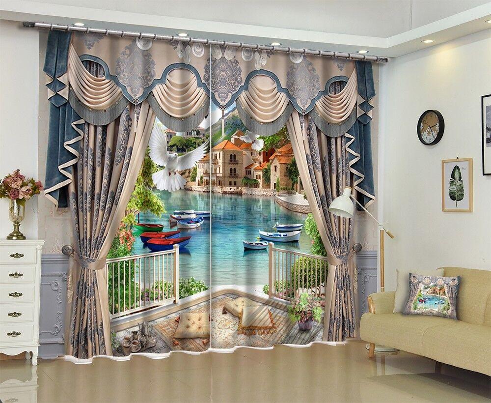 3D ciudad de Río 5 Cortinas de impresión de cortina de foto Blockout Tela Cortinas Ventana Reino Unido