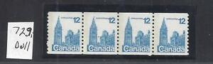 Canada-PARLIAMENT-12ct-COIL-STRIP-DULL-PAPER-SCOTT-729i-VF-MINT-NH-BS16232