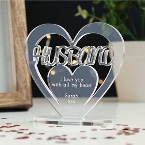 Image Is Loading Personalised Heart Message Ornament Keepsake Husband Birthday Anniversary