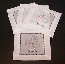 "Bunko Dice Coasters Doilies 6"" Set of 4 Pink Blue Green White Doily Poker"