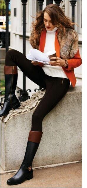Michael Kors Fulton Harness Black Mocha Brown Fashion Knee High Logo