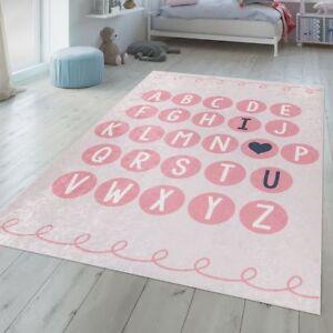 Détails sur Chambre Enfant Tapis Lavable ABC Tapis Apprentissage Moderne  Fille Alphabet Rose