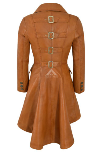 Tan Jacket Ladies Coat Gothic Leather 3491 Real Edwardian Buckles Back SBqfp5