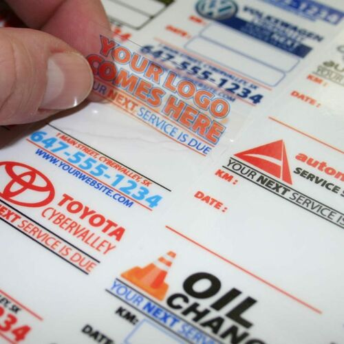20 Fully Customized Oil Change Reminder Sticker Static Cling or Low Tack Vinyl