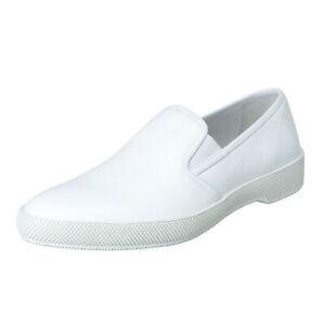 Prada Men's White Leather Loafers Slip