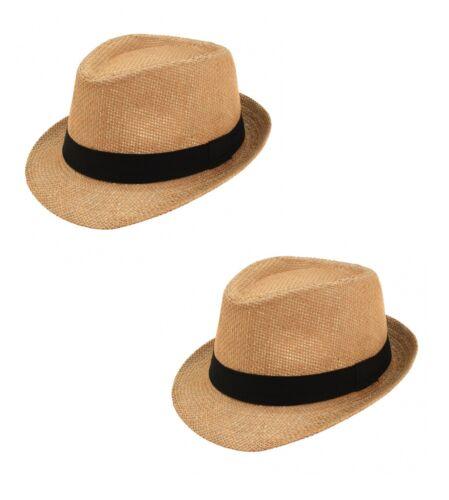 2 x légère été paille Chapeau Marron Avec Noir Bande classique Bon Paquet