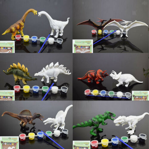 Plastic Dinosaur Hand Painted Pen Color DIY Drawing Model 3D Set Kids Toys