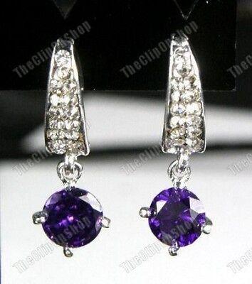 CLIP ON Cubic Zirconia DROP EARRINGS rhinestone crystal
