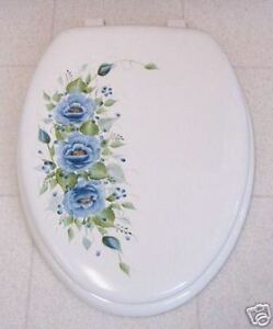 Super Details About Hp Roses Toilet Seat Soft Elongated White Blue Roses Beatyapartments Chair Design Images Beatyapartmentscom