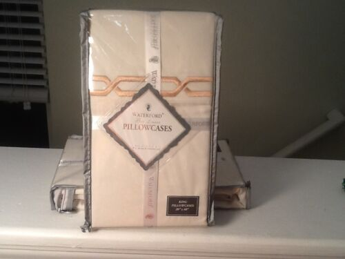 Waterford linens ivory king Sedgwick cases 2 NWT 0035