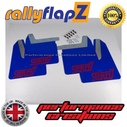 01-07 RallyflapZ Subaru Impreza Nuevo Edad Montana Azul STi MUD FLAPS Rojo 4mm PVC