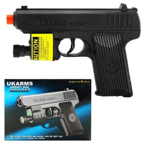 """5000 BBs UK ARMS 6.5/"""" Black Plastic Airsoft Pistol Hand Gun Laser M333af 160FPS"""