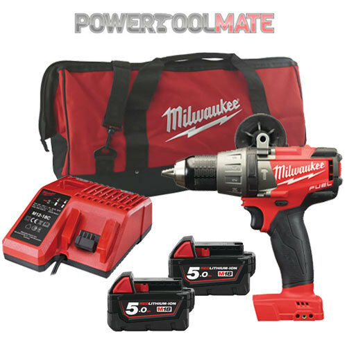 Milwaukee M18FPD-502B Fuel 2 Brushless Combi Drill with 2 x 5.0Ah & Bag