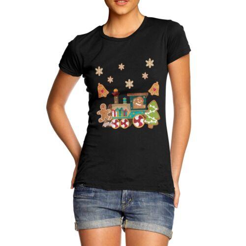 Twisted Envy Women/'s Gingerbread Train T-Shirt