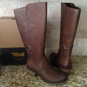 f1d6109b3 Image is loading TEVA-FOXY-TALL-BROWN-WATERPROOF-LEATHER-WESTERN-BOOTS-