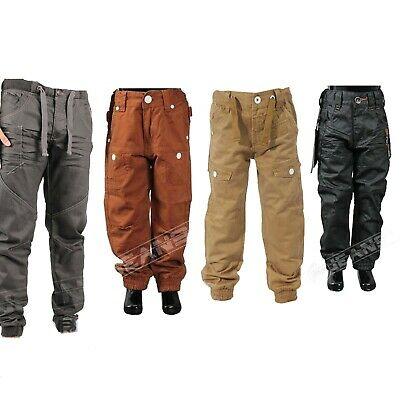 Boys New ETO EB259 Designer Casual Chinos Kids Cuffed Jeans in Red /& Tan Colour