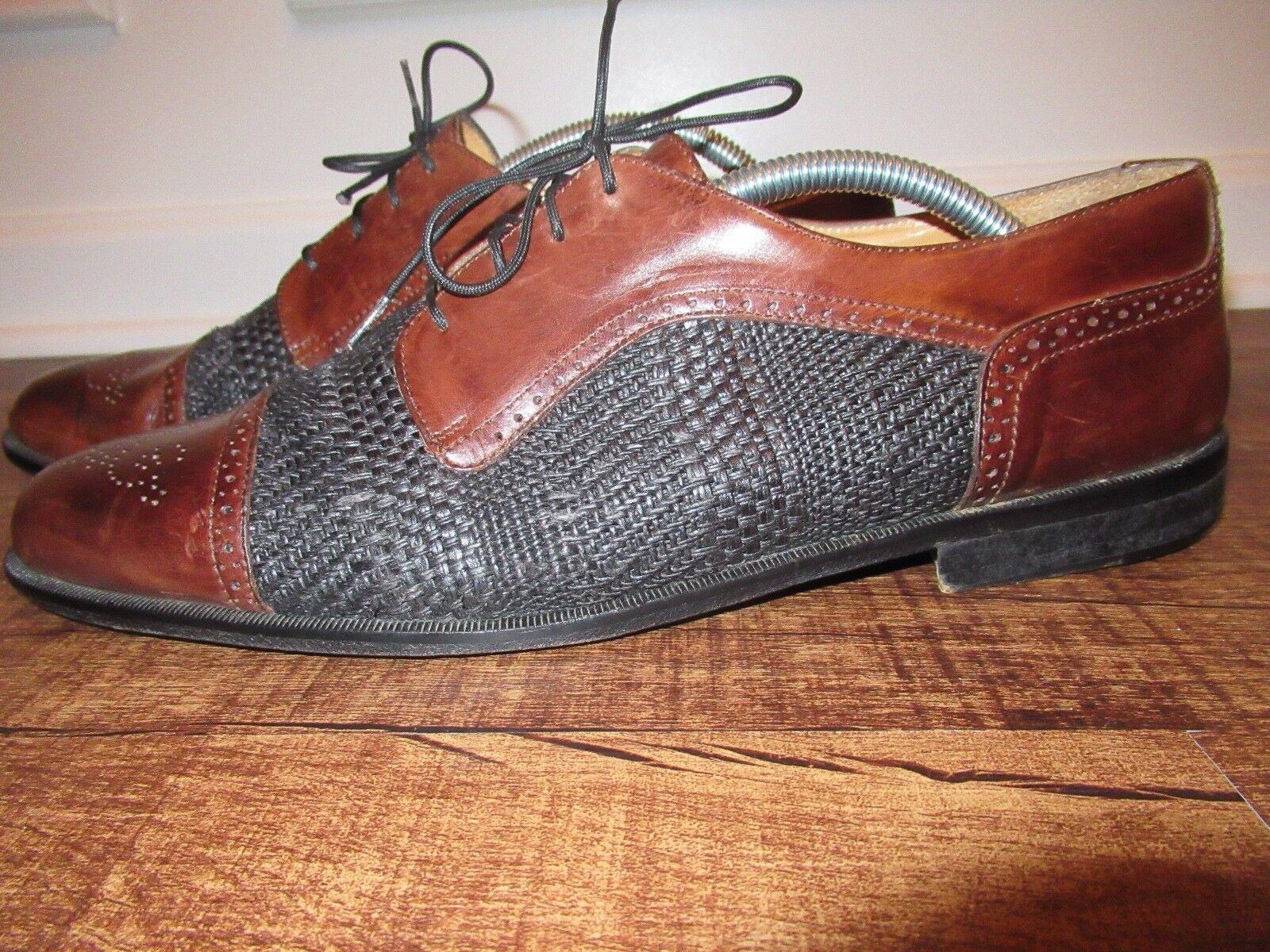 Johnston And Murphy Cellini CapToe Linen Brown Leather Dress shoes Mens Sz 10.5
