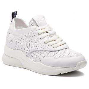 Sneakers-Donna-Liu-Jo-B19009-P0102-Scarpe-Pelle-Bianche-Gomma-Casual-Nuove