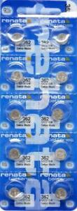 10PCS.RENATA 362/ SR721SW  WATCH BATTERIES,SWISS MADE, 0% MERCURY