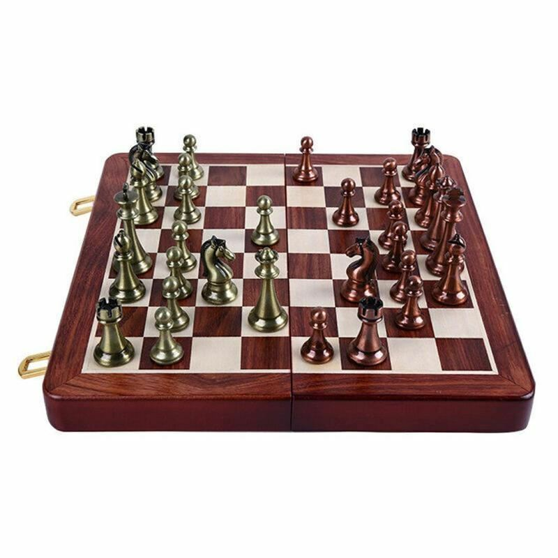 HIGH END  Wood Folding Chessboard Chess Game & Alloy Metal Pieces