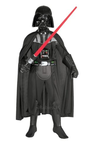 KIDS DELUXE DARTH VADER FANCY DRESS COSTUME STAR WARS JUMPSUIT MASK CAPE OUTFIT