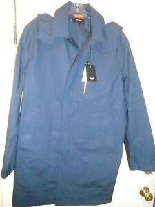 Jack-Spade-Waterproof-Cotton-Hooded-Trench-Coat-Rain-Coat-NWT-Large-498-Navy