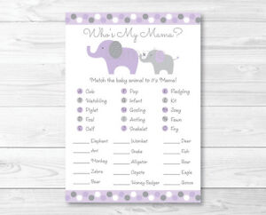 photograph relating to Baby Animal Match Game Printable identified as Info regarding Lavender Elephant Child Shower Little one Animal Activity Activity Printable