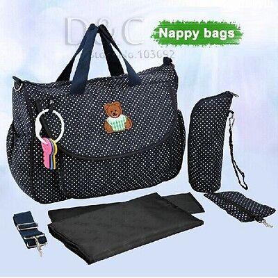Waterproof 4 Pcs/Set Baby Diaper Nappy Mummy Bag Changing Bottle Holder Handbag