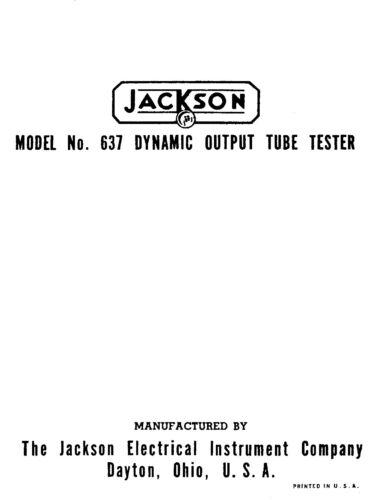 Vacuum Tube Testers Jackson 637 Tube Tester Manual with Tube Test ...