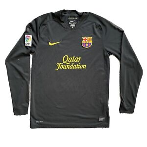 Men's Nike FC Barcelona 2011/2012 Black Soccer Long Sleeve Jersey Size M