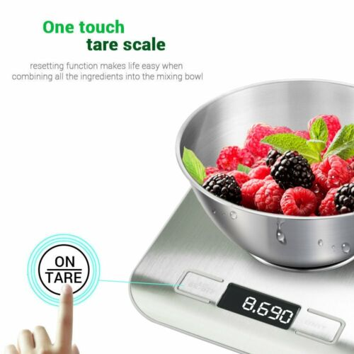 5KG DIGITAL KITCHEN SCALES STAINLESS STEEL ELECTRONIC LCD COOKING WEIGHING FOOD