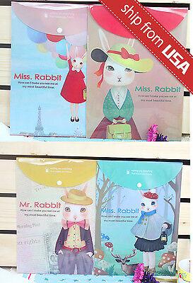 US Lot 4pcs Miss Rabbit A4 File Folder Document Organizer Bag cute Kawaii Office