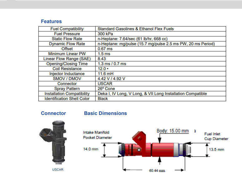 EV6 USCAR 8 Genuine 108191 Siemens Deka 60lb High Impedance Fuel Injectors Set