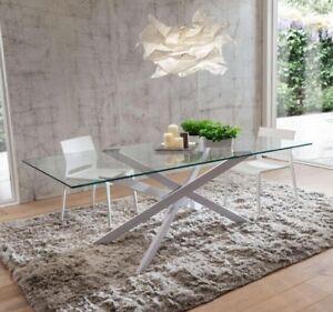 Piano Cristallo Per Tavolo.Dettagli Su Tavolo Renzo Fisso 170x100 Piano Cristallo Base Laccata Bianca Xsoggiorno