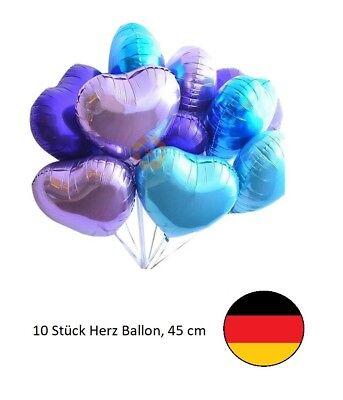 Mini Folienballons Herzchen Baby Blau Herz Hellblau 50 Stück Kein Helium Ballon